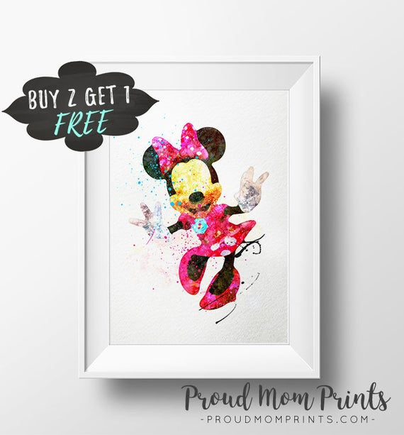 Minnie mouse kunstdruck poster disney wand kunst kinderzimmer etsy - Minnie mouse kinderzimmer ...