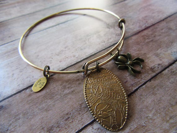 Spiderman Comic Book Pressed Penny and Spider Charm on Antique Bronze  Bangle Bracelet