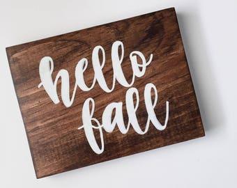 "Hello Fall- 5.5""x 7.25"" - Wood Sign   Wall Sign   Hanging Sign   Fall Decor   Autumn   Seasonal Decor   I Love Fall   Home Decor"