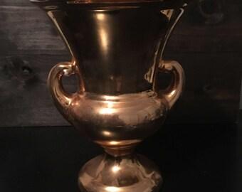 Gold Tone Ceramic Pitcher