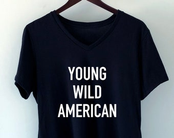 59d9f03677f Plus Size T-Shirt Young Wild American   Plus Size Clothing   T-Shirts Funny  Slogan T Shirt   Screenprinted T-Shirt