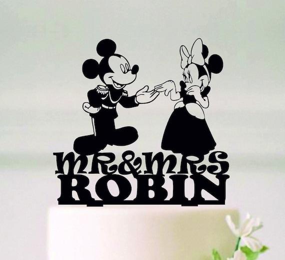 ミッキーとミニーウェディングケーキトッパー、ウェディングシルエット、シルエットミスターとミセス、ディズニーケーキトッパー、幸いにもその後