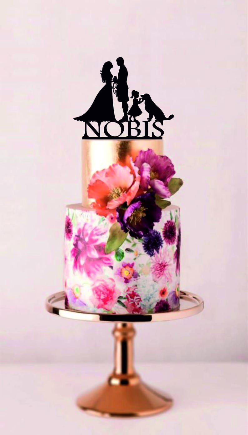 Family Cake Topper With Labrador Scottish Man Wedding