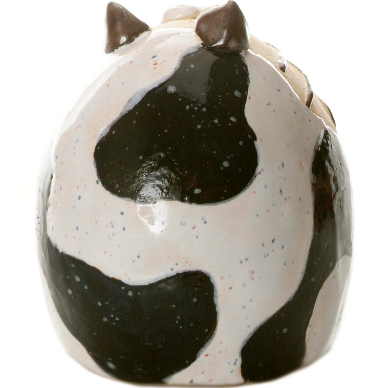 Funky Tabby Cat in Black and White Ceramic Hand Made Ornament for Cat Lovers