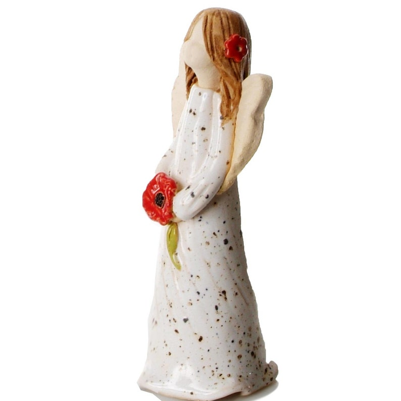 Hand Made Ceramic Ornament Guardian Angel Guardian of Remembrance Gift Boxed Sentiment Card Red Poppy Quirky /& Thoughtful Gift