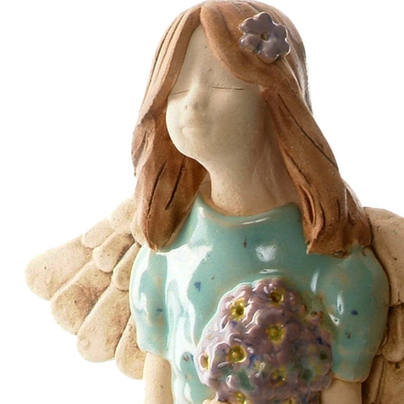 Teal with a hint of Turquoise Angel Statuette with White Daisies Table Standing Ceramic Ornament Quirky Handmade Figurine