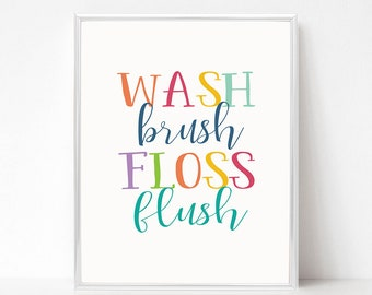 picture about Wash Brush Floss Flush Free Printable titled Clean brush printable Etsy