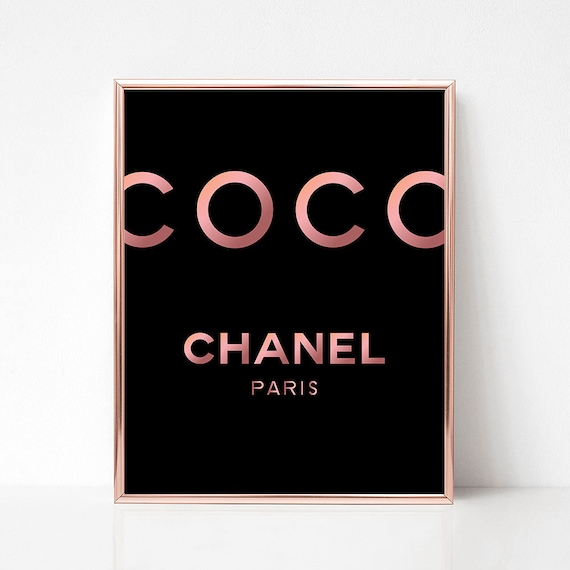picture relating to Printable Chanel Logo named Coco Chanel wall artwork printable, Chanel house decor, Rosegold Paris style wall artwork