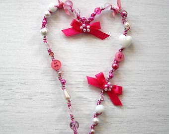 Shabby chic heart decoration for your home. Gift. Home decor. Hanging heart. Pink and white.