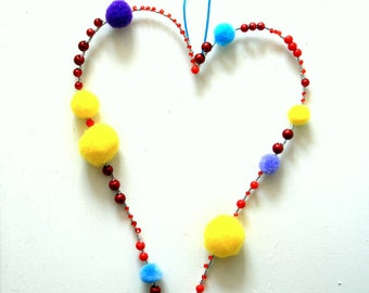 Pom pom heart decoration to hang on a wall, on a door, in your window, Heart decor, wall hanging, pompoms, home decor