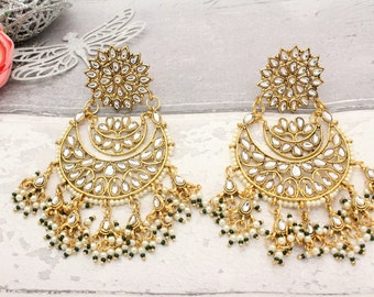 b4126538890 Large Lightweight Indian Bollywood Asian Chand Bali Chandelier Kundan Pearl  Earrings