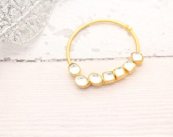 Gold Silver Kaachi Kundan Sonam Kapoor Inspired Nose Piece Nath Nathini Nose Ring Fully Adjustable