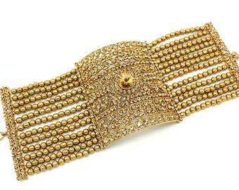 Antique Gold Indian Bollywood Statement Cuff Bracelet Kangan Style Bangle Hand Piece