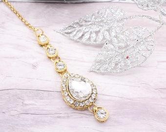 Gold Silver Stone Indian Bollywood Tikka Headpiece Maang Tikka Wedding Bridal