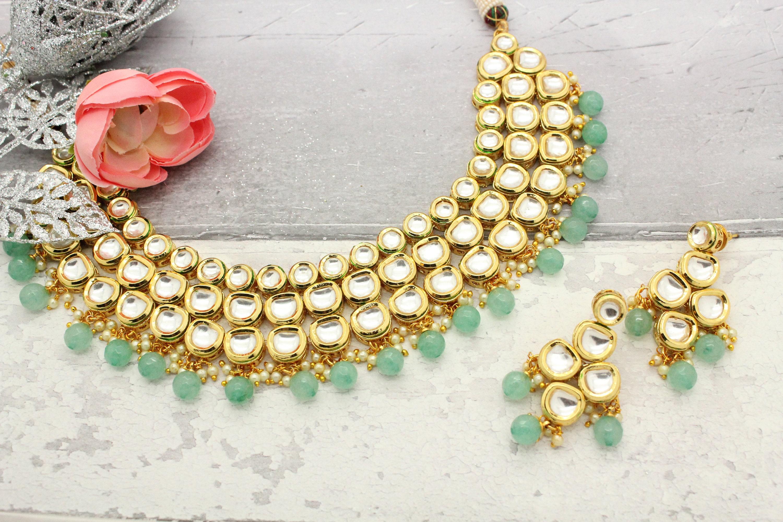 Indian Green Pearl Kundan Choker Earrings Women Bollywood Handmade Jewelry