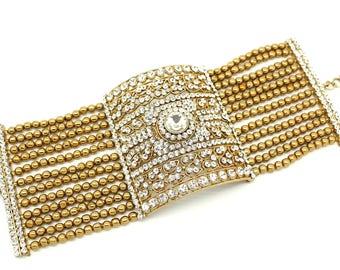 Gold Silver Indian Bollywood Cuff Bracelet Kangan Style Bangle Hand Piece