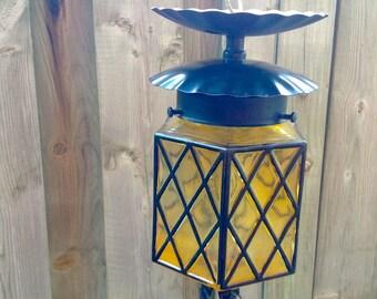 Porch Light: Diamond Pattern Amber Glass Ceiling Light, Retro Light,