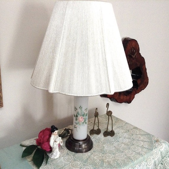 Table Lamp Hand Painted Milk Glass Bedroom Light, Cottage Chic, Nursery  Table Lamp #331