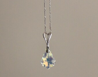 Charm pendant necklace  with sterling silver 925 and swarovski crystals, sterling silver chain necklace with a shine crystal