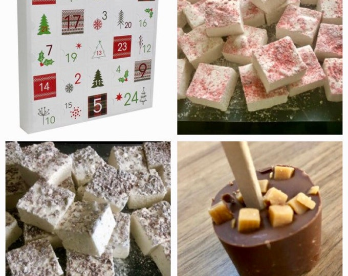 Luxury Marshmallow Advent Calendar!! 24 huge squares of marshmallow plus a hot chocolate stirrer for Christmas Eve!