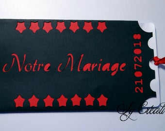 "10 INVITATIONS / wedding ""cinema ticket"" INVITATIONS - fully customizable, color choice"