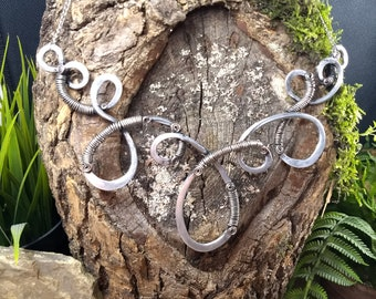 Forged Silver Tone Swirl Necklace