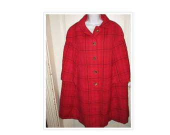 1960's VINTAGE Red Plaid Sherlock Holmes Cape One Size