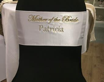Personalised Satin Chair Sash