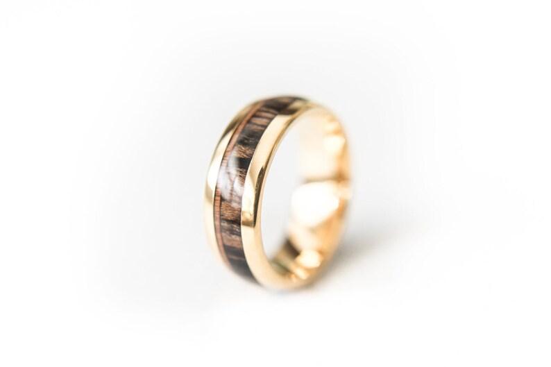 18k Gold Plated 8mm Koa Inlay Tungsten Wedding Band