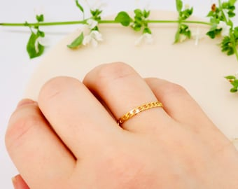 EVA • Solid Gold 10K - 14K Chain Ring • Stacking Open Curb Chain Ring • Minimalist Jewelry Ring  for women