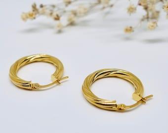Hoop twist earrings - Twist hoop gold earrings - Dainty gold earrings - 14k hoop earrings - Hypoallergenic 14k Gold Hoop Earrings