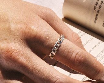 Curb chain ring in sterling silver 925 - unisex ring