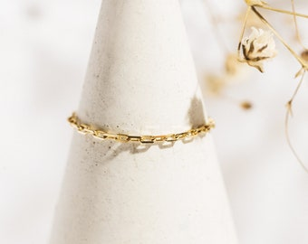 Solid gold 10k ring - Dainty chain ring - Rectangular link ring - Custom stacking ring - Gift for her
