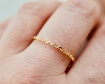 Solid yellow gold 14 carats extra thin ring Stacking Chain Ring Minimalist Jewelry Delicate Ring