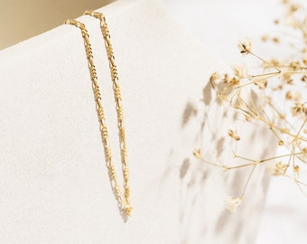Figaro chain bracelet - Gold figaro chain bracelet 1.25mm - 10k gold bracelet - 14k gold bracelet