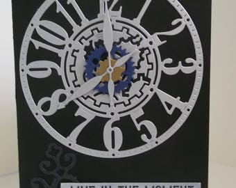 Black and silver - Live In the Moment - steampunk clock, male masculine boy, any occasion blank inside - greeting card
