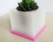 "Medium Cubelia - Modern Cube Pot, Geometric 4"" Succulents Pot, Minimalist Succulent Planter, Square Pot, Orchid Planter, Unique Orchid Pot"