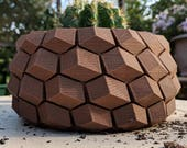 Honeycomb Pot in Cork or Wood ~ Brown, Textured Natural Theme Succulent and Cactus Planter in Corkfill - 3D Printed Pot