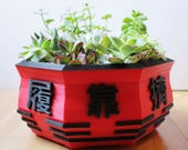 Eight Gates Bonsai Pot ~ Chinese, Asian, Tai Chi, Lucky Eight ~ For Bonsai, Succulents, Cacti