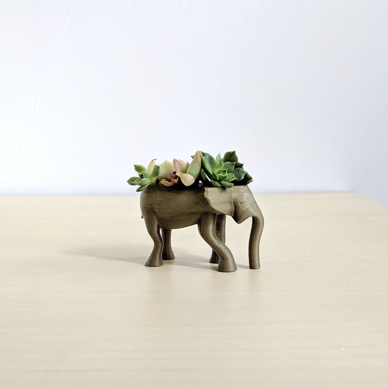 Elephant Animal Planter for Mini Succulents Cute Animal Pot image 0
