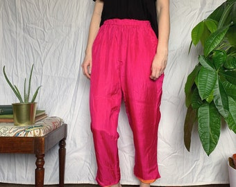 28-29W Vintage Blush Silk Trousers High Waist