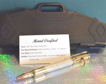 Hand Crafted White Tailed Deer Antler 30 Caliber Bolt Action Pen with Rifle Pen Case