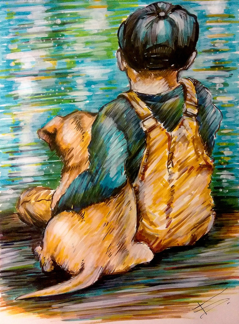 Original Markers Drawing Kid And Dog Home Decor Wall Art Etsy
