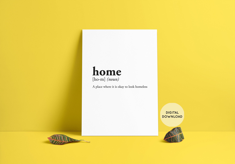 home funny definition Room Decor Wall Art Dictionary Art | Etsy