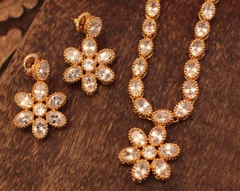 Indian CZ Gold Plated White Necklace Set
