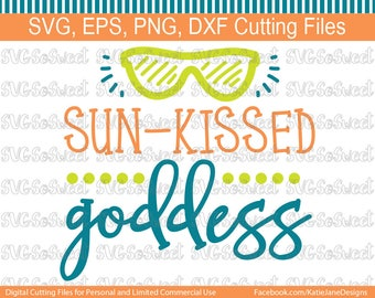 Beach svg, Sun Kissed Goddess, Summer, Pool, Vacation, SVG, PNG, EPS, Dxf, Silhouette Cutting Files
