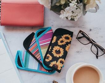Personalized Wild Flowers Genuine Leather Eyeglass Case