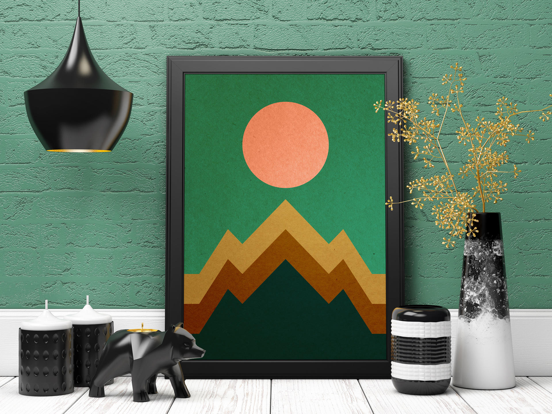 minimalist wall art abstract landscape mountain print etsy. Black Bedroom Furniture Sets. Home Design Ideas