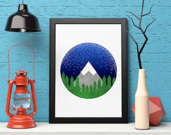 Geometric Art, Minimalist Print, Printable Art, Mountain Print, Scandinavian Art, Modern Art Print, Abstract Landscape, Instant Download