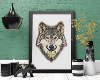Wolf Print, Wolf Wall Art, Minimalist Print, Digital Painting, Woodland Decor, Wild Animals, Printable Art, Instant Download, Nursery Decor